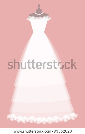 EPS 10 vector illustration of a beautiful wedding dress. Elements are grouped and layered for easy editing. See similar illustrations in my portfolio. - stock vector