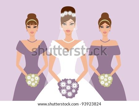 EPS10 vector illustration of a bride and two bridesmaids. Background, bride and each bridesmaid are grouped and placed on separate layers. See my portfolio for more wedding themed images. - stock vector