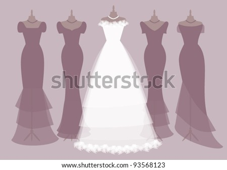 EPS 10 vector illustration of a bride's dress and four bridesmaids' dresses. Grouped and layered for easy editing. See more images with the same subject in my portfolio. - stock vector