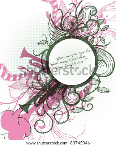 eps10 vector illustration of a round frame with abstract plants and colored trumpets - stock vector