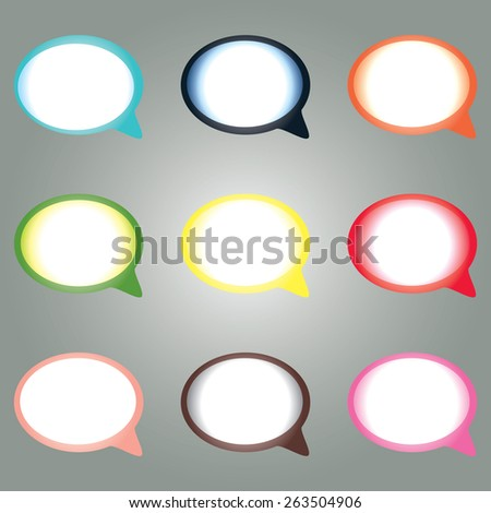 Eps 10 vector illustration of blue, red, green, yellow, brown, cyan, orange white round oval blank speech bubbles it isolated on grey background wall. Talking, communication concept. - stock vector
