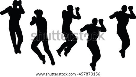 EPS 10 vector illustration of boxer businessman silhouette in black