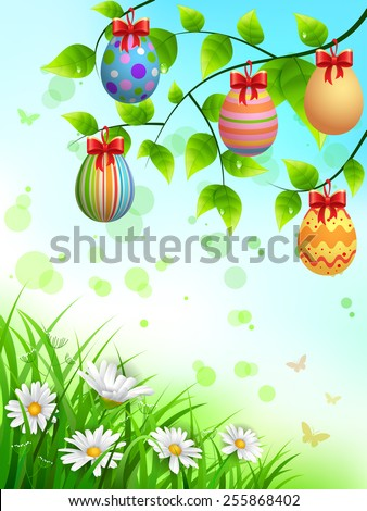 EPS 10 Vector illustration of colorful easter eggs hanging on a branches. Objects are layered. Used blending modes and transparency. Used clipping mask on grass. RGB color mode. Easy to edit. - stock vector