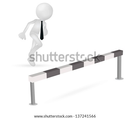 EPS 10 Vector Illustration of 3d business man running to jump through a barrier
