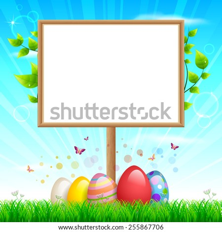 EPS 10 Vector illustration of Easter blank sign. Used transparency and blending mode. Grass is in clipping mask. Objects are layered, easy to edit. - stock vector