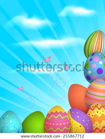 EPS 10 Vector illustration of Easter eggs background. Used transparency and blending mode. Used clipping mask on eggs, easy to edit. Objects are layered. - stock vector