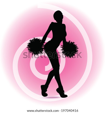 EPS 10 Vector illustration of funky cheerleader silhouette