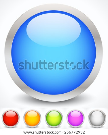 Eps 10 Vector Illustration of Glossy Colorful Circles with Metallic Frame - stock vector