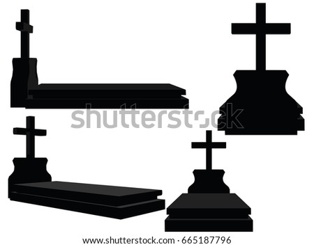 EPS 10 vector illustration of grave silhouette on white background