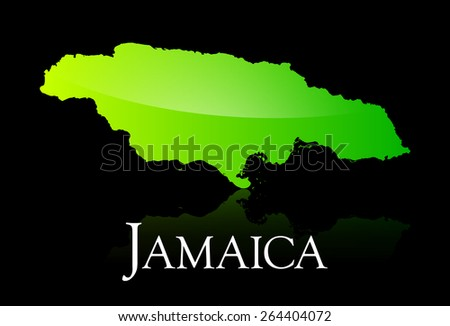 EPS 10 Vector illustration of Jamaica green shiny map. Used transparency. - stock vector