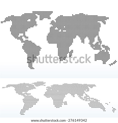 EPS 10 Vector illustration of map of World with with Dot Pattern - stock vector