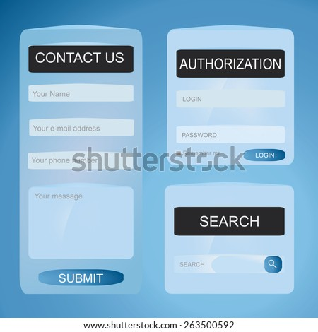 Eps 8 vector illustration of simple blue bright color web entry form with contact us sign in and search bar isolated on light blue background for your website. No transparencies. Gradients applied. - stock vector