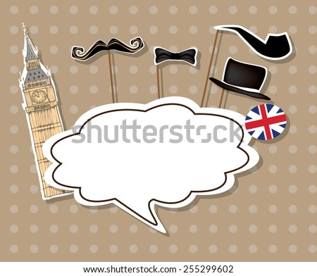 Eps 10 vector illustration of stylized english man, gentleman from London with blank empty white speech bubble, talk, speech cloud for text isolated on light brown wallpaper background with polka dots - stock vector
