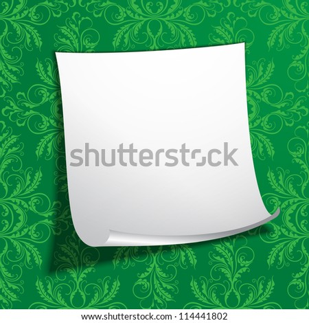 EPS10 vector illustration of white notepaper on the green wall - stock vector