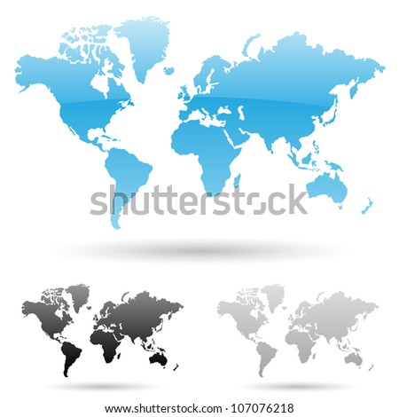 eps vector illustration of world map in 3 different colors