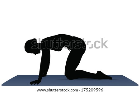 EPS 10 vector illustration of Yoga positions in Cat Pose