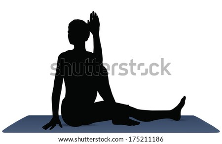 EPS 10 vector illustration of Yoga positions in Marichi's Pose
