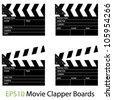 EPS10 Vector Illustrations of Movie Clapper Boards - stock photo
