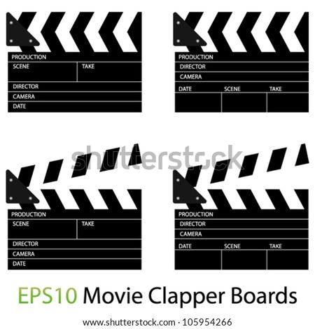 EPS10 Vector Illustrations of Movie Clapper Boards - stock vector
