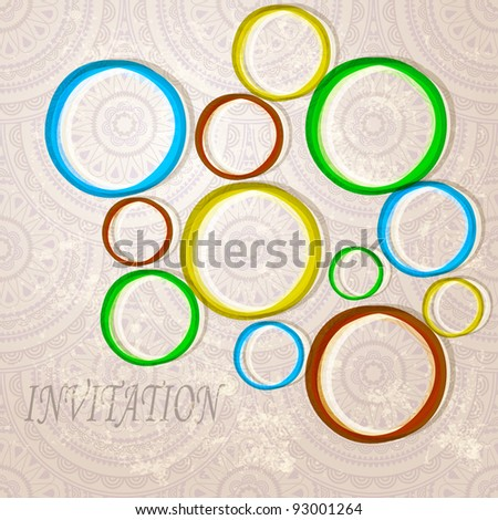 eps 10, vector invitation with  bright circles on eastern  seamless background - stock vector