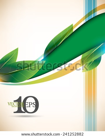 eps10 vector leaf and wave green elements, multicolor lines elegant business background - stock vector