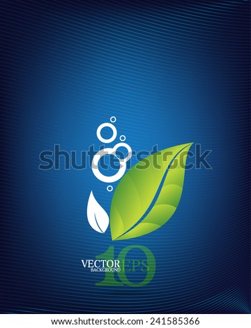 eps10 vector leaf elements and silhouette dew drops and wave on blue business background - stock vector