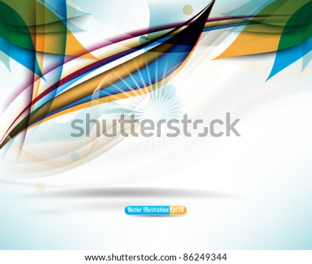 eps10 vector leaves and waves element background design - stock vector