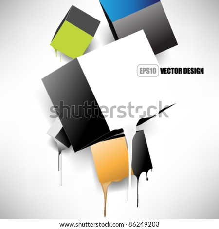 eps10 vector melting 3d boxes concept design - stock vector