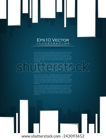 eps10 vector minimalistic geometric white rectangle on blue background corporate business illustration - stock vector