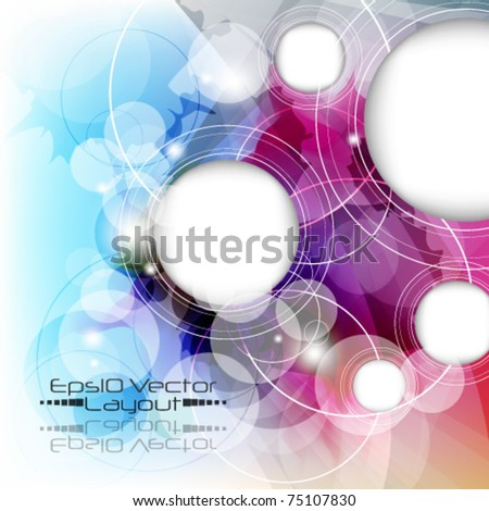 eps10 vector multicolor background with round frame - stock vector