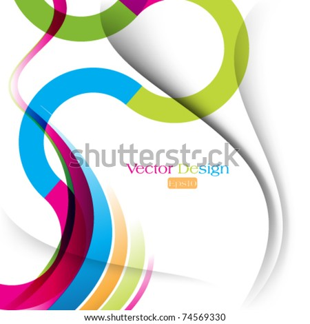 eps10 vector multicolor curve and wave lines background