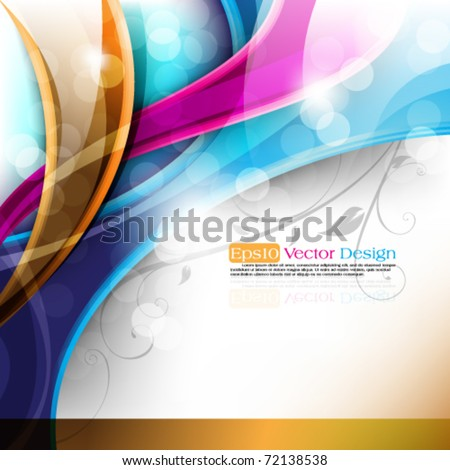 eps10 vector multicolor design with foliage elements - stock vector
