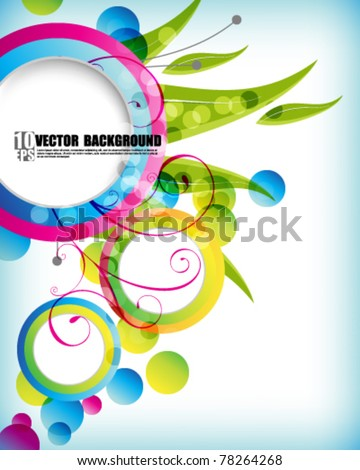 eps10 vector multicolor foliage round frame background