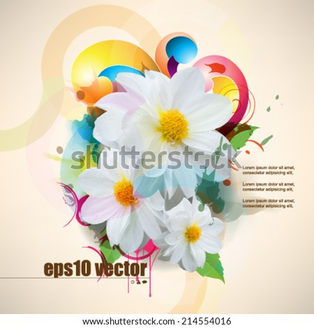 eps10 vector multicolor grunge flower concept background - stock vector