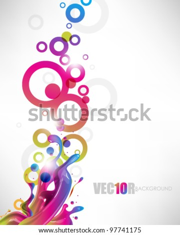 eps10 vector multicolor ink splash with rings design - stock vector