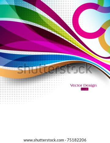 eps10 vector multicolor lines and waves concept background - stock vector