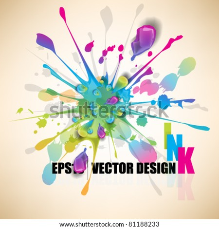 eps10 vector multicolor splatter design - stock vector