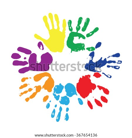 EPS 8 vector multicolored  fingerprints with the colors of rainbow  - stock vector