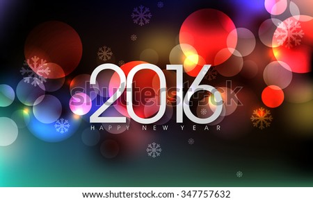eps10 vector 2016 new years eve party occasion annual holiday greetings, bokeh defocused flare lights effect abstract background - stock vector