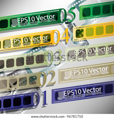 eps10 vector numbered film strips banner templates - stock vector