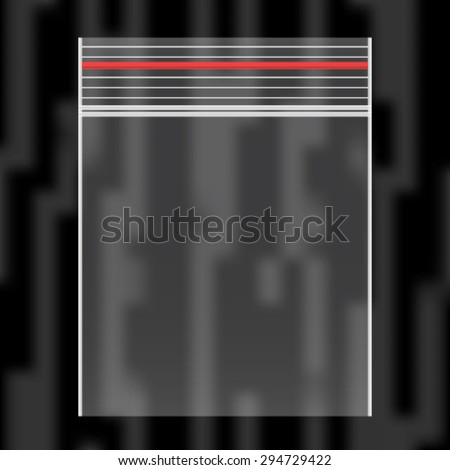 EPS10 vector nylon transparent plastic zip lock bag - stock vector