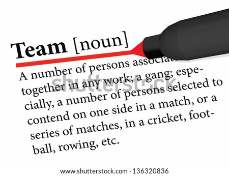 EPS 10 Vector of dictionary term of team word - stock vector