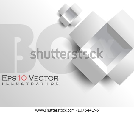 eps10 vector, open box, chrome element background illustration - stock vector