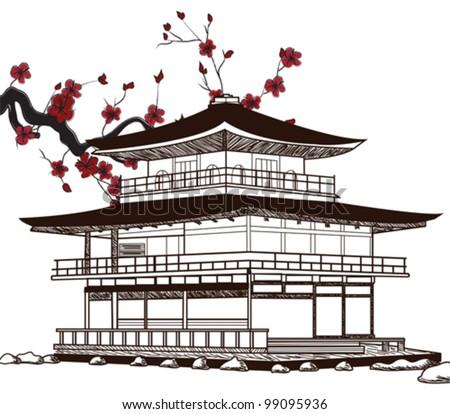 Eps 10 vector - oriental pavilion - sketch - stock vector