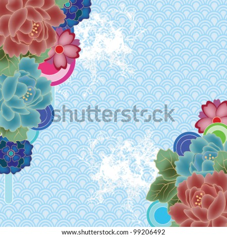 Eps 10 vector - oriental seascape with peony, stylized waves and space for text