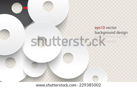 eps10 vector overlapping chrome disc concept background - stock vector