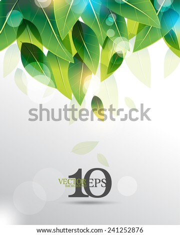 eps10 vector overlapping green leaves with light flares business background - stock vector