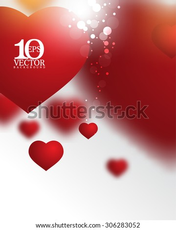 eps10 vector overlapping red heart depth of field effect light flares beautiful background - stock vector