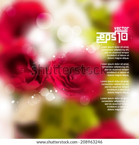 eps10 vector realistic blurred roses wedding and anniversary background - stock vector