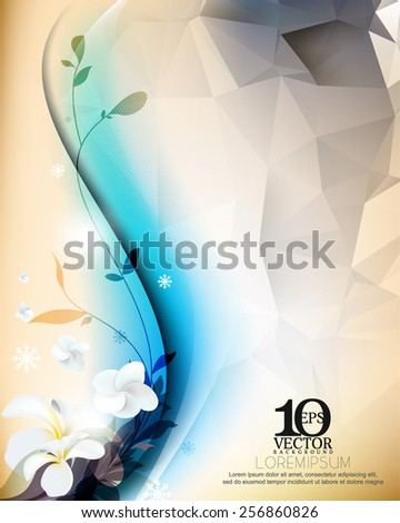 eps10 vector realistic elegant flowers and silhouette plants and triangular background design elements - stock vector